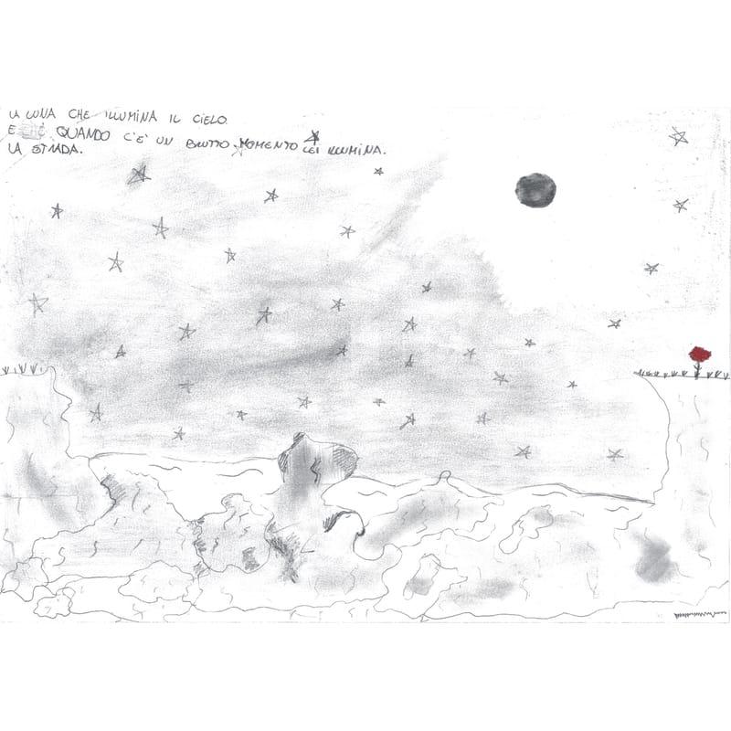 Poesia e disegno di Matilde Bosatra durante la redazione aperta sulla luna